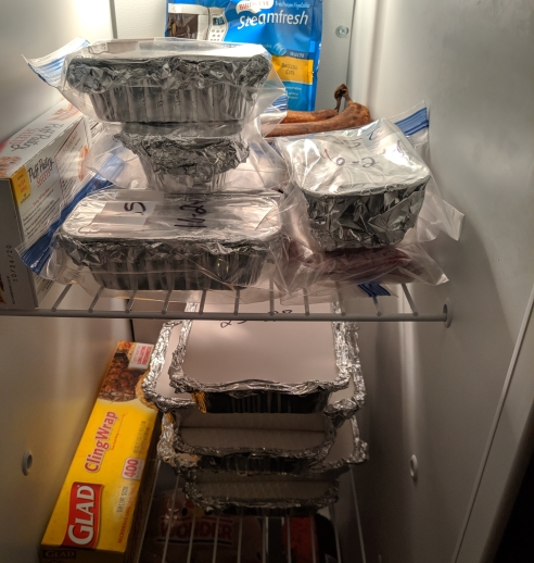 containers of food inside a freezer